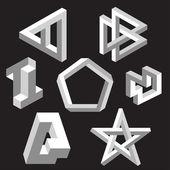 Optical illusion symbols. Vector illustration. — Stock Vector
