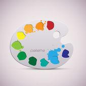 Hölzerne kunst-palette. farbe abbildung. — Stockvektor