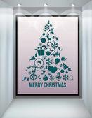 Sfondo vettoriale applique di albero di Natale. — Vettoriale Stock