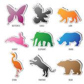 Vektor uppsättning djur silhuett — Stockvektor