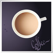 Coffee cup with world map on background, top view. — Stock Vector