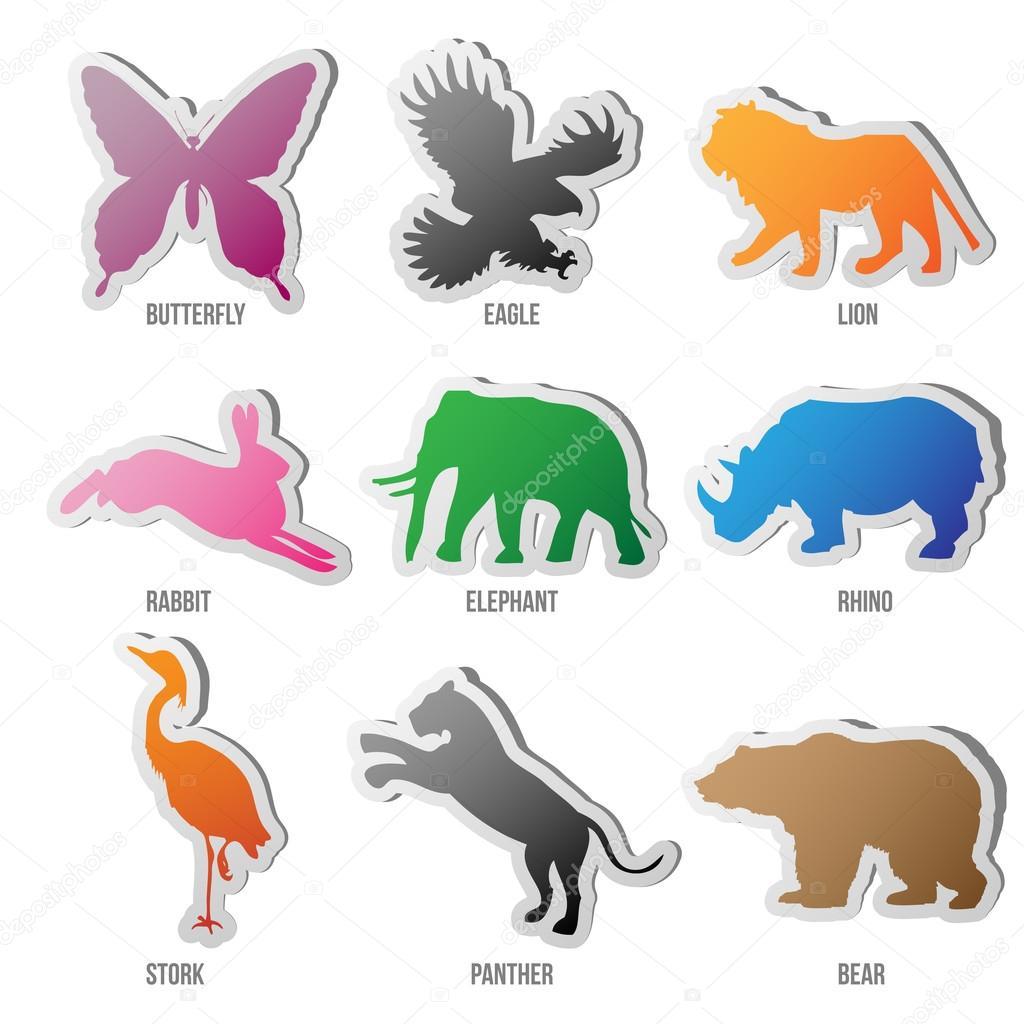 向量组的动物剪影 — 矢量图片作者
