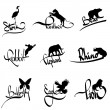 Stock Vector: Vector set of animals silhouette with lettering