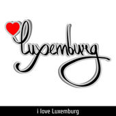 Luxemburg greetings hand lettering. Calligraphy — Stock Vector