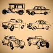 Stock Vector: Modern and vintage cars silhouettes collection