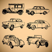 Modern and vintage cars silhouettes collection — Stock Vector