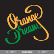 ORANGE DREAM hand lettering - handmade calligraphy — Stock Vector