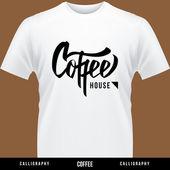 Café de la mano deletreado - caligrafía hecha a mano — Vector de stock
