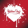 Red paper heart Valentines day card - Imagen vectorial