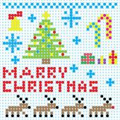 Vector Christmas pixel art card — Stock Vector