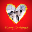 Christmas card with raindeer in drawing heart frame — Stock Photo