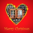 Christmas card with eve symbol in drawing heart frame — Stock Photo