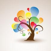 Curioso árbol abstracto pegatina pared calcomanía para su diseño — Vector de stock