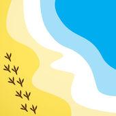 Pláž cestovní vektorové pozadí moře s ptačí stopy — Stock vektor
