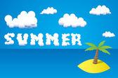 Web de vacaciones de verano y la plantilla de impresión - ilustración de la playa de una isla tropical con palmeras y sol — Vector de stock