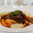 Luxury roasted Lamb leg with root vegitable and mashed potatoes.  — Stock Photo