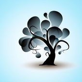 Decalcomania di muro vignetta divertente albero astratto per il vostro disegno — Vettoriale Stock