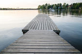 Empty dock in the evening sunset — Stock Photo