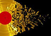 Vinyl shatter gold — Stock Photo