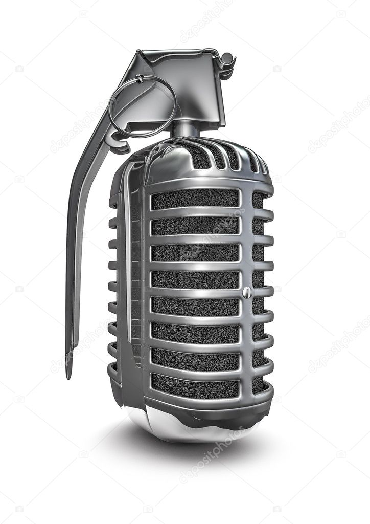 3D render of retro microphone grenade — Stock Photo #13190345