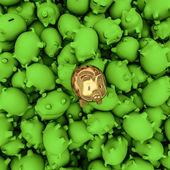 Tirelire or parmi vert — Photo
