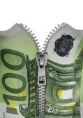 Zippered hundred euro note — Stock Photo