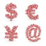 Pills alphabet dollar euro yen email — Stock Photo #22062345