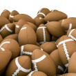 American footballs pile - Stock Photo