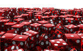 Red dice pile — Stock Photo