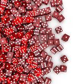 Rode dobbelstenen morsen — Stockfoto