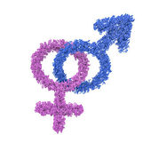 Male female gender symbols intertwined — Stock Photo