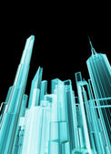 Holographic city — Stock Photo