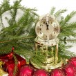 Christmas gift, golden clock and red New Year's balls — Stok fotoğraf