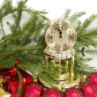 Royalty-Free Stock Photo: Christmas gift, golden clock and red New Year&#039;s balls