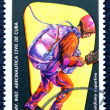Postage stamp with the image of the skydiver. — Zdjęcie stockowe