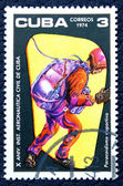Postage stamp with the image of the skydiver. — ストック写真