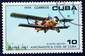 Postage stamp with the image plane — Stock Photo