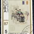 Stock Photo: Postage stamp depicting traditional old vehicles. French crew.