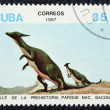 Postage stamp with the image of a dinosaur — Stock Photo