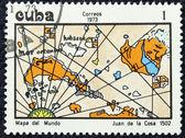 Timbre-poste avec l'image d'une carte géographique — Photo