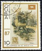Postage stamp depicting traditional old vehicles. Siamese elephants. — Zdjęcie stockowe