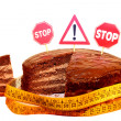 Chocolate cake with prohibitory traffic signs and centimeter — Stock Photo