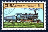 Postzegel met de afbeelding van de oude locomotief — Stockfoto