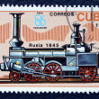 Postage stamp with the image of the old locomotive — Stock fotografie