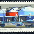 Postage stamp with the image of the cargo transport train — Foto de Stock