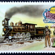 Postage stamp with the image of the old locomotive — Stock Photo