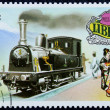 Postage stamp with the image of the old locomotive — Zdjęcie stockowe