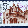 Postage stamp with the image of architecture in Kraków. — Stock Photo