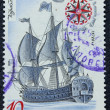 "Postage stamp with the image the ancient ship ""Poltava"" — Foto de Stock"