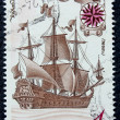 "Stock Photo: Postage stamp with image ancient ship ""Orel"""